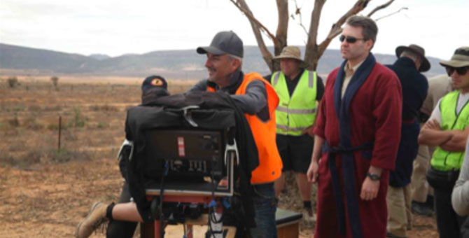 The only shot I was allowed to use from my visits to Wolf Creek 2 (because they thought it was funny that I was in a dressing gown).