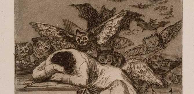 Francisco José de Goya y Lucientes, 'The Sleep of Reason Produces Monsters (El sueño de la razon produce monstruos), Los Caprichos', No. 43 (1796-97), etching and aquatint, Fifth Edition (1881-86), plate dimensions 21.3 x 15 cm. Daniel Gift, 1991 (Albury City Collection)