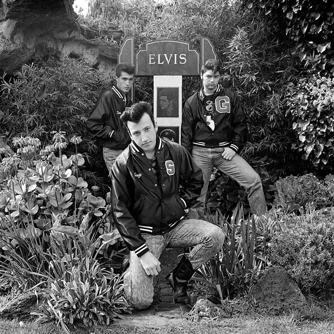 Polixeni Papapetrou, 'Three young men paying homage to Elvis on the 13th anniversary of Elvis' death Elvis Memorial Melbourne' 1990, selenium toned silver gelatin print, 100 x 100 cm (ed. of 6).