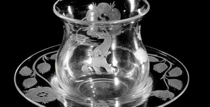 ENGLAND, 'The Shelley bowl and dish' (detail) c.1745, glass (wheel-engraved), 9.1 x 16.4 cm diameter (overall). National Gallery of Victoria, Melbourne. William and Margaret Morgan Endowment, 1968.