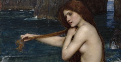 John William Waterhouse, R.A. A Mermaid (detail) 1900, oil on canvas. © Royal Academy of Arts, London; Photographer John Hammond. Genius and Ambition: The Royal Academy of Arts, London 1768–1918, Post Office Gallery, 51 - 67 Pall Mall Bendigo (VIC), 2 March - 9 June 2014