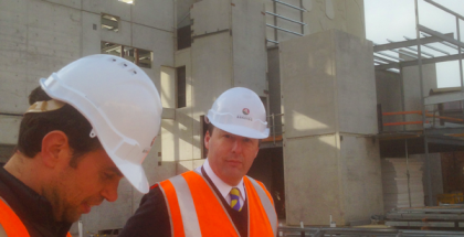 The Capital's new Business Development Manager David Stretch (right) on the site of the Ulumbarra Theatre.
