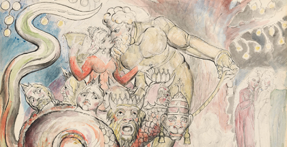 William Blake, The Harlot and the Giant, illustration for The Divine Comedy by Dante Alighieri (Purgatorio XXXII, 85-87 and 142-53) (detail) 1824–27, pen and ink and watercolour over pencil and black chalk, with sponging, 37.2 x 52.7 cm. Felton Bequest, 1920. Courtesy of the National Gallery of Victoria, Melbourne.
