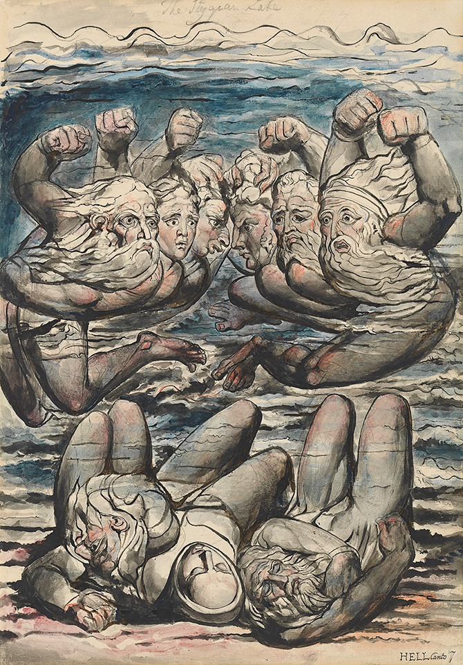 William Blake, The Stygian Lake, with the Ireful Sinners fighting, illustration for The Divine Comedy by Dante Alighieri (Inferno VII, 106-26) 1824–27, pen and ink and watercolour over pencil and traces of black chalk with sponging, 52.7 x 37.1 cm. Felton Bequest, 1920. Courtesy of the National Gallery of Victoria, Melbourne.