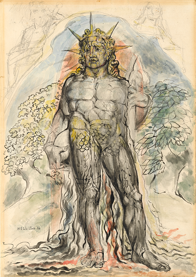 William Blake, The Symbolic Figure of the Course of Human History described by Virgil, illustration for The Divine Comedy by Dante Alighieri (Inferno XIV, 94-119) 1824–27, pen and ink and watercolour over pencil, with sponging, 52.7 x 37.3 cm. Felton Bequest, 1920. Courtesy of the National Gallery of Victoria, Melbourne.