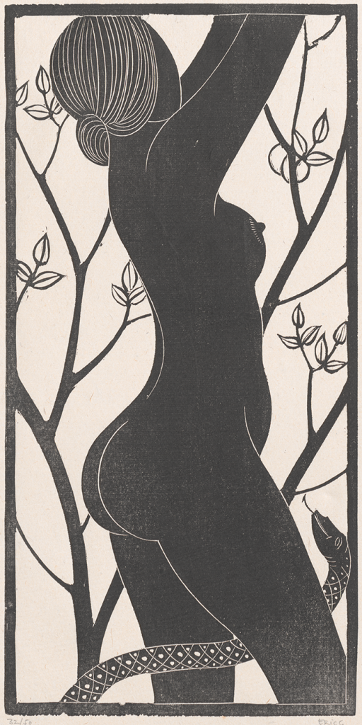 (Arthur) Eric (Rowton) Gill (English, 1882-1940), Eve (1926), wood engraving; impression 32 of 50, block 23.7 x 11.7 cm, sheet 35.9 x 21.3 cm, (Purchased, 2012).