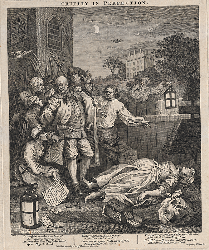 William Hogarth (English, 1697-1764), Cruelty in perfection (1751), (Plate 3 from series The four stages of cruelty, 1751), engraving; third state, plate 38.5 x 32 cm, sheet 66.6 x 47.5 cm, (Purchased, 1995).