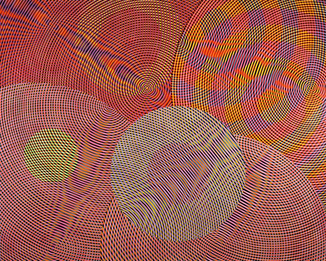 ohn Aslanidis, Sonic Network no. 13 (detail) 2013, oil and acrylic on canvas, 244 x 304 cm. Courtesy the artist and Gallery 9, Sydney.