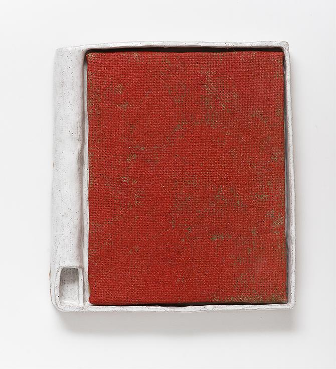 Jake Walker, 'Brick Floors' 2014, acrylic on jute, glazed stoneware frame, 38 x 34cm.