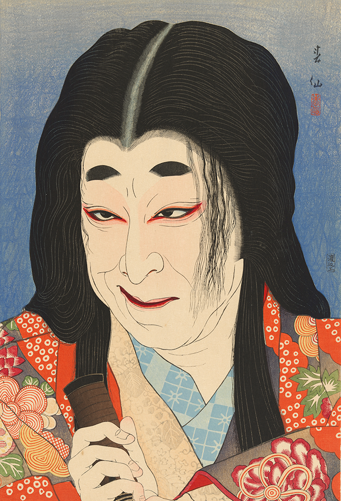 Natori Shunsen Japan 1886-1960 Nakamura Utaemon V as Yodogimi in 'A sinking moon over the lonely castle where the cuckoo cries' 1926 from the series Collection of creative portraits by Shunsen woodblock print, embossing; ink and colour on paper, 37.6 x 25.6 cm National Gallery of Australia, Canberra Gift of Jennifer Gordon 1998