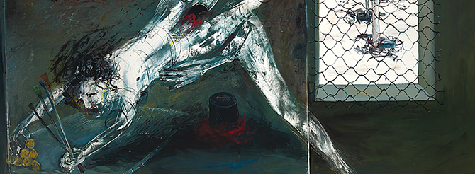Arthur Boyd, Paintings in the studio: 'Figuresupporting back legs'and 'Interior with black rabbit' (detail) 1973, oil on canvas. The Arthur Boyd gift 1975.
