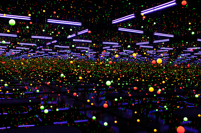 Yayoi KUSAMA (Japan b.1929), Soul under the moon 2002, mirrors, ultra violet lights, water, plastic, nylon thread, timber, synthetic polymer paint The Kenneth and Yasuko Myer Collection of Contemporary Asian Art. Purchased 2002 with funds from Michael Sidney Myer and The Myer Foundation, a project of the Sidney Myer Centenary Celebration 1899-1999, through the Queensland Art Gallery Foundation and The Yayoi Kusama Queensland Art Gallery Foundation Appeal. Collection: Queensland Art Gallery.