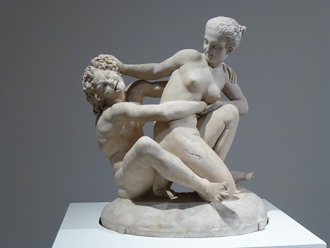 Marble Group of a Nymph Trying To Escape From a Satyr (2nd century AD), found near Tivoli, Italy, her head restored in the 19th century, 77 (h) x 68 (w) x 52 (d) cm.