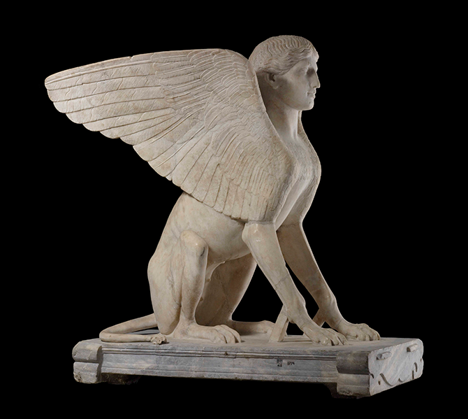 Marble Sphinx, probably a support for a table (120-140 AD), from Monte Cagnolo, outside Lanuvium, near Rome, 84 (h) x 80 (w) x 55 (d).
