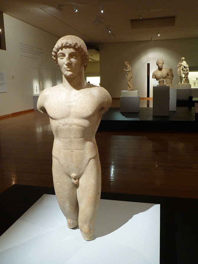 Parian Marble Statue of a Boy (The Strangford Apollo) (c. 490 BC), said to be from Anaphe, Cyclades, Greece, 101 cm (h). Photo by Inga Walton.