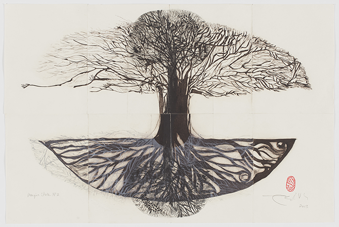 E. Ratnam-Keese, Regeneration I 2013, composite paper drypoint print, 53 x 76cm. Image courtesy the artist. Photo Jeremy Dillon. E. Ratnam-Keese: Regeneration, Manningham Art Gallery Manningham City Square (MC²), Doncaster Road, Doncaster (VIC), until 15 November 2014 - manningham.vic.gov.au/gallery