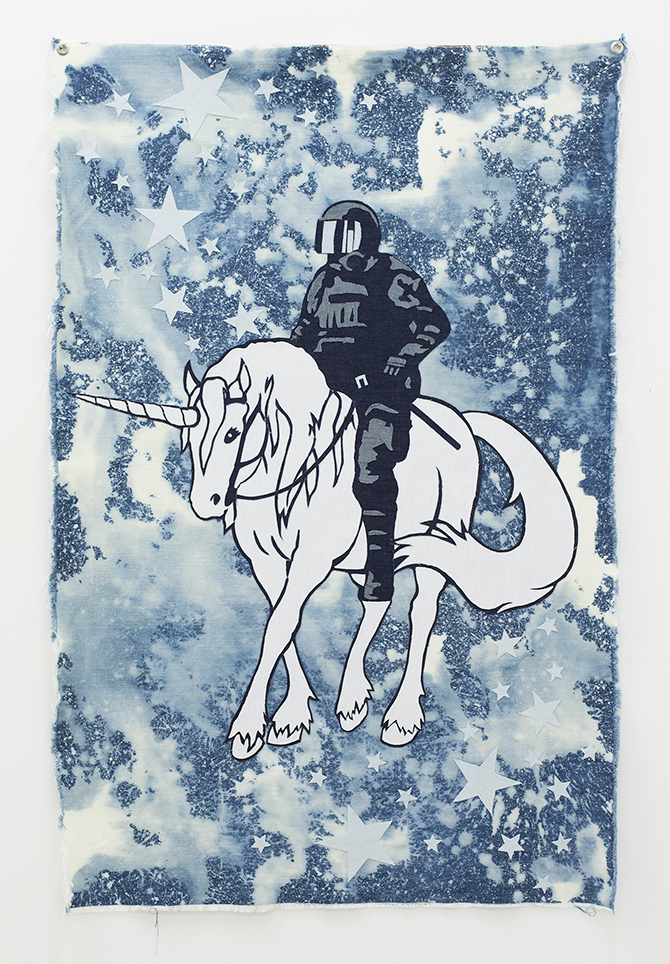 Tony Garifalakis, Mounted Stardust Unit 2013, mixed media on denim, 150 x 100cm, Ararat Regional Art Gallery Collection. Purchased with the assistance of the Robert Salzer Foundation and Ararat Rural City Council annual allocation, 2014. Courtesy of the artist and Hugo Michell Gallery. Recent Acquisitions, Ararat Regional Art Gallery, Town Hall, Vincent Street Ararat (VIC), 4 December 2014 – 22 March 2015