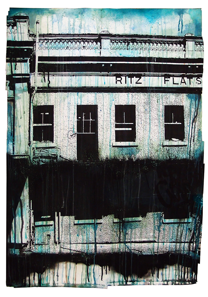 Glen SMITH, The Ritz 2013, mixed media on paper. Reproduced courtesy of the artist and Boom Gallery, Geelong. #RitzHeritageOverlay, Geelong Gallery, Little Malop Street Geelong (VIC), 6 December 2014 – 22 February 2015