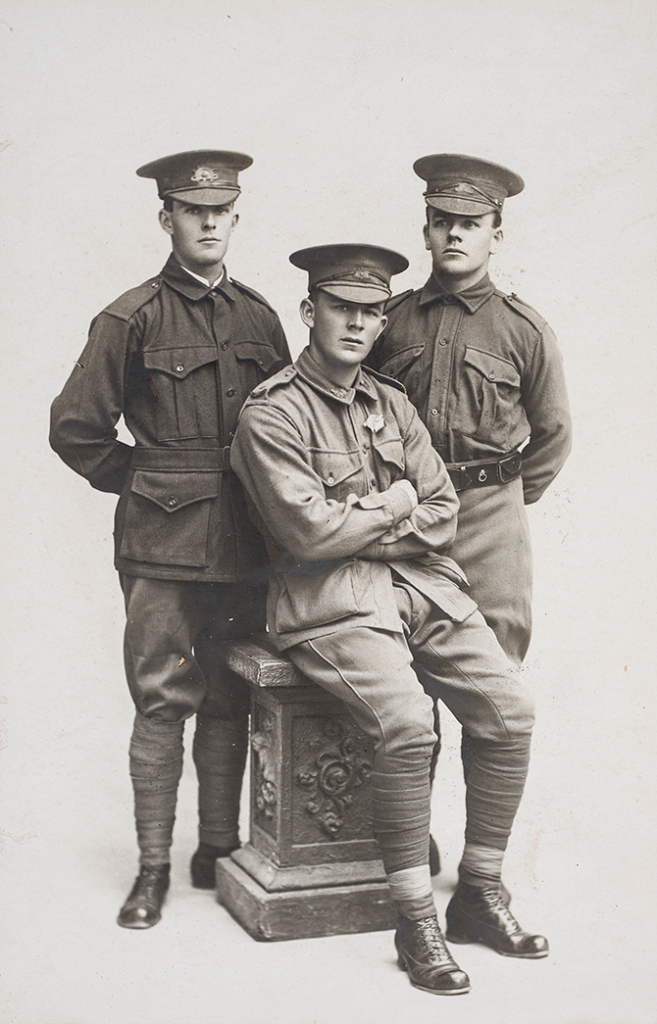 Unknown photographer, David, Edward and Albert Hocking 1916, gelatin silver print. Collection Ted and Pat Hocking. Bendigo enlists: the First World War 1914–18, Post Office Gallery, View Street Bendigo (VIC), 11 December 2014 – 21 June 2015 - bendigoartgallery.com.au