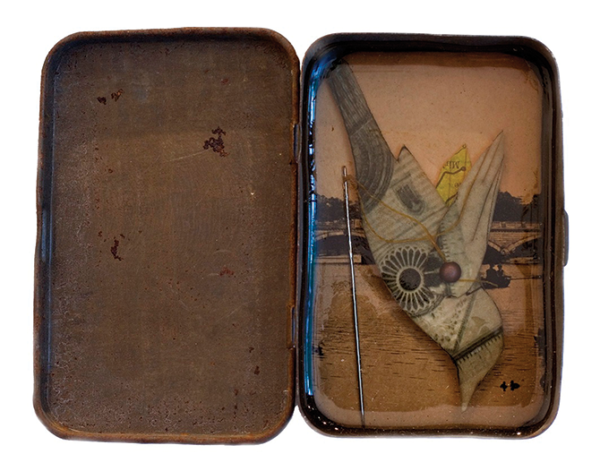 Glen Skien, 'All of the things I could have told you about birds 1' 2010, collage and resin in tobacco tin.