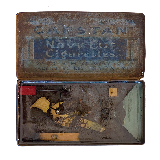 Glen Skien, 'Galleria' 2009, collage and resin in tobacco tin.