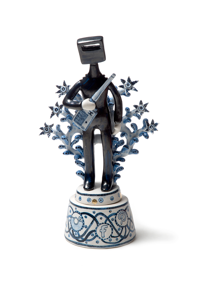 Vipoo Srivilasa, 'Networking' 2013, cobalt pigment on porcelain. Photograph: Andrew Barcham. Courtesy of the artist and Edwina Corlette Gallery.