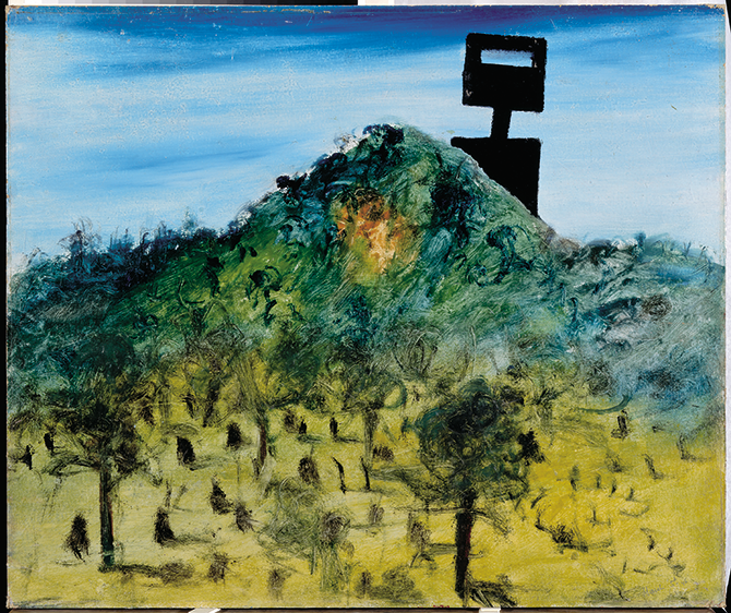 Sidney Nolan, 'Kelly' 1946, enamel on cardboard. Collection, The Nolan Collection at Canberra Museum and Gallery is managed on behalf of the Australian Government.