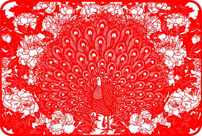 Zhou Bing, Peacock and Peony, cut paper.