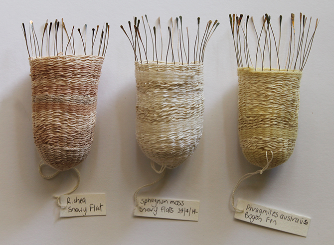 Sally Blake, Seed Baskets (detail) 2014/5, plant dyed wool and silk, silver wire. Image courtesy of the artist.
