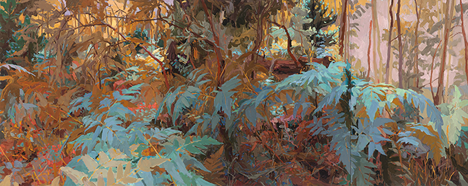 Mary Tonkin, Buffeted Above the White Gums, Kalorama 2014, oil on linen, 54 x 447 cm.