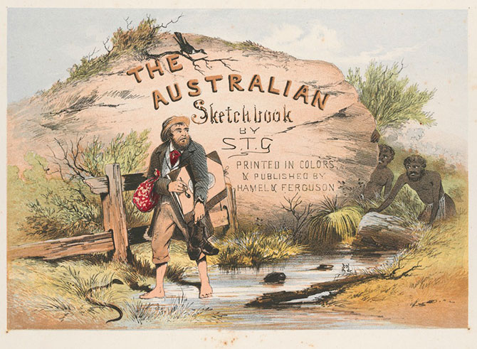 ST Gill, Title page, The Australian Sketchbook by STG, 1864–65, chromolithograph, State Library Victoria.