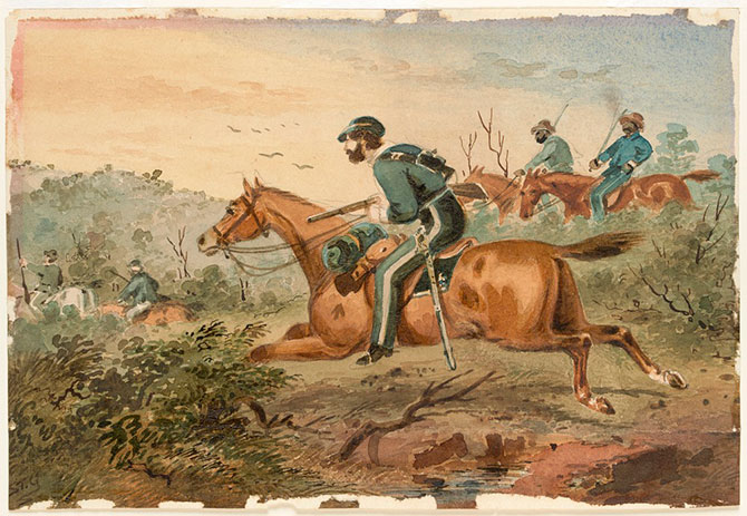 Troopers pursuing bushrangers 1871, watercolour, State Library Victoria.