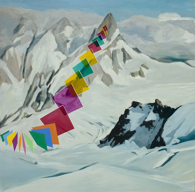 David George Ledger, Glacier 2012, oil on linen, 60 x 60 cm, courtesy the artist. Plastic, curated by Anna Louise Richardson, GALERIE POMPOM, 2/39 Abercrombie Street, Chippendale (NSW), 9 - 24 December 2015.