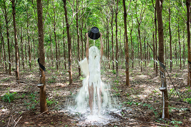Khvay SAMNANG (Cambodia b.1982), Rubber Man 2014, inkjet print on Hahnemühle Photo Rag paper 308gsm, ed. 2/3, 80 x 120cm. Purchased 2015 Queensland Art Gallery, Gallery of Modern Art Foundation. Collection: Queensland Art Gallery. Asia Pacific Triennial of Contemporary Art (APT8), QUAGOMA, until 10 April 2016.