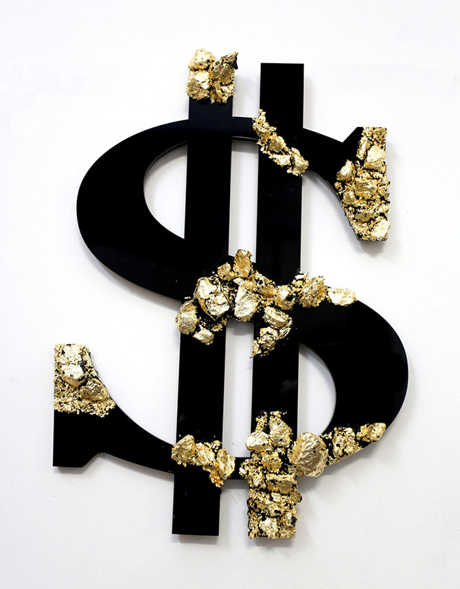 Louis Pratt, DOLLAR 2015, coal, resin, gold leaf and perspex \ 57x36x5cm. Black Gold, Nanda Hobbs, Level 1, 66 King Street Sydney (NSW), 3 – 18 December 2015.