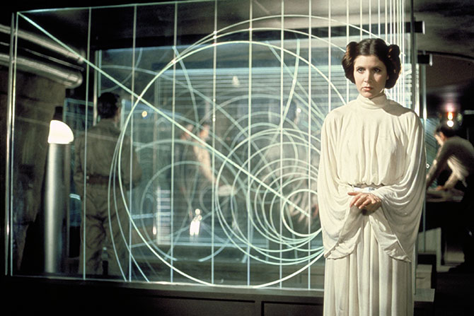 Princess Leia in the rebel command centre on Yavin IV, still from Star Wars: Episode IV, A New Hope. TM & © Lucasfilmltd. All Rights Reserved. Supplied as original promotional image for Star Wars: Where Science Meets Imagination.
