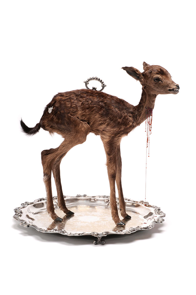Julia deVille, Sentience 2012, stillborn deer, glass, rubies 18.45ct, pear cut garnet 0.76ct, 18ct white gold chain and wire, sterling silver, bronze, black rhodium on antique Wallace platter. 49 x 49 x 51cm. Collection Bendigo Art Gallery. The Gift of Grace and Alec Craig Bendigo Victoria, 2014. Image courtesy the artist and Sophie Gannon Gallery. Photo: Terence Bogue. Cornucopia, Shepparton Art Museum (SAM) 70 Welsford St Shepparton (VIC), 27 February – 23 March 2016