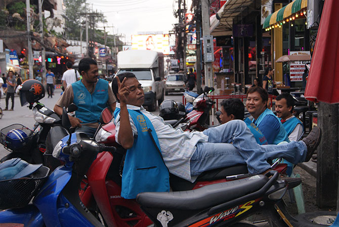 Motorcycle Taxis in Phuket, photo by Roxy Cameron.