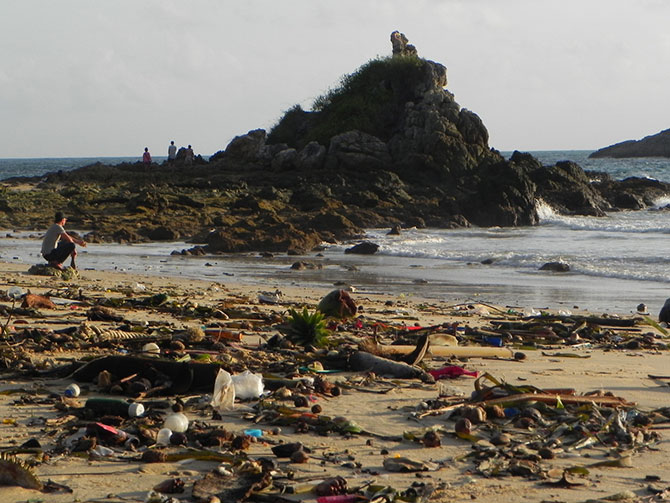 Pollution and trash washed up on the beach in Phuket, 2015. Photo by Roxy Cameron.