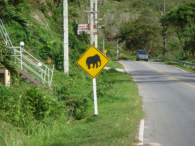 Road sign in Phuket. Road in the southern tip of the island, 2009. Author: Millevache. Source Wikimedia Commons.