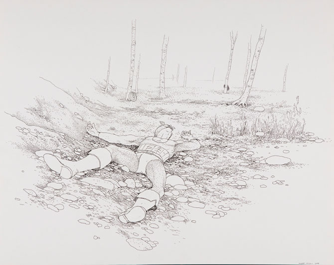 Anders Nilsen, Captain American resting 2008, ink on paper, 125.7 x 95.3 cm. Collection the artist © Anders Nilsen. Comic Tragics: the exploding language of contemporary comic art, Art Gallery of Western Australia, , Perth Cultural Centre (WA), 9 April – 25 July 2016