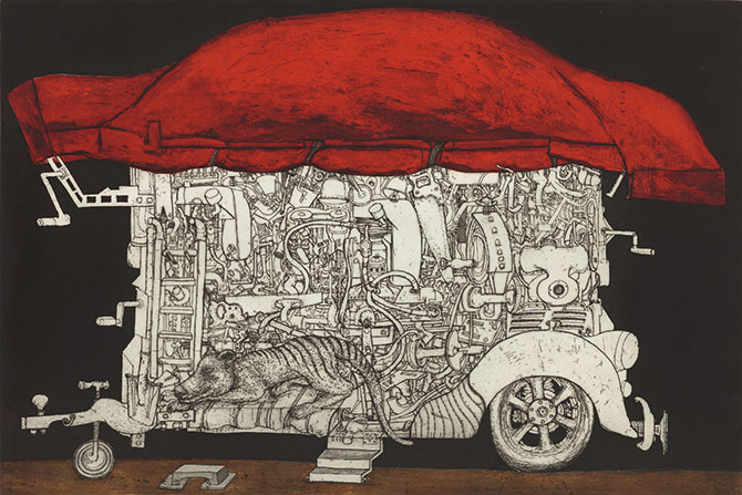 Daniel Moynihan, Harold Wright's Tinker Truck 2014 etching, drypoint, aquatint, sugarlift on 2 copperplates, Lana Royal paper, final state, edition 8/32, 60 x 90cm. Courtesy of the artist. © Daniel Moynihan. Licensed by Viscopy, 2016. The Art of Daniel Moynihan: Printmaking 1966-2016, Art Gallery of Ballarat, 40 Lydiard Street North, Ballarat (VIC), 9 April – 19 June 2016