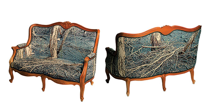Deb Mansfield, The Armchair Traveller (two-seater) 2013, photo-tapestries upholstered onto a reproduction Louis two-seater frame, 93 x 130 x 70 cm. Courtesy the artists and Galerie pompom, Sydney. Interiors / Exteriors, MOP Projects, 2/39 Abercrombie St, Chippendale (NSW), until 16 April
