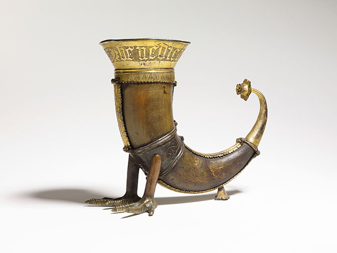 Denmark, Drinking horn (1400-1500 AD), horn, mounted in copper gilt, 16.6 x 17 cm. (Bequeathed by Sir Augustus Wollaston Franks, 1897).