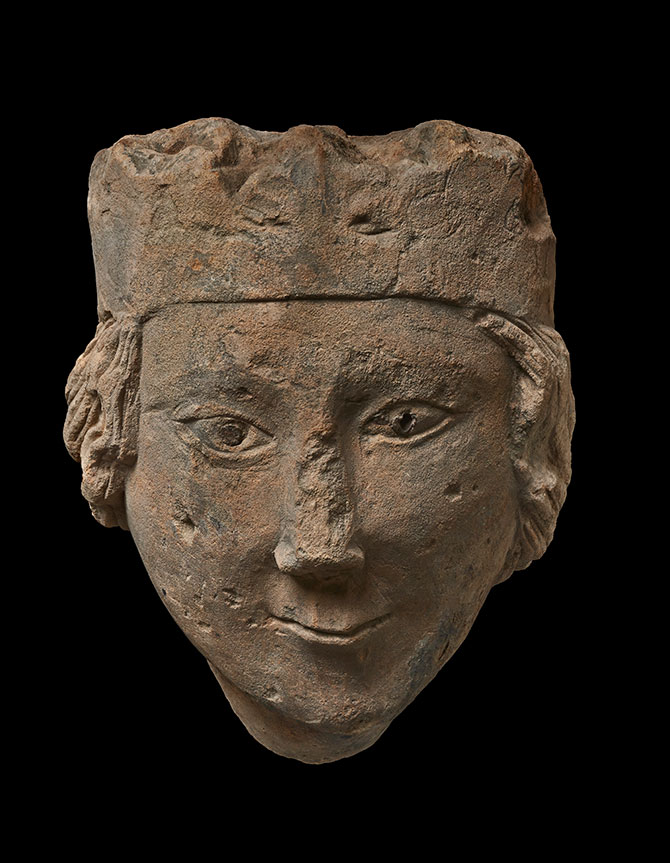 England, Figure/Corbel; Head of a Queen (1275-1325), stone, 19 x 15 x 14 cm.