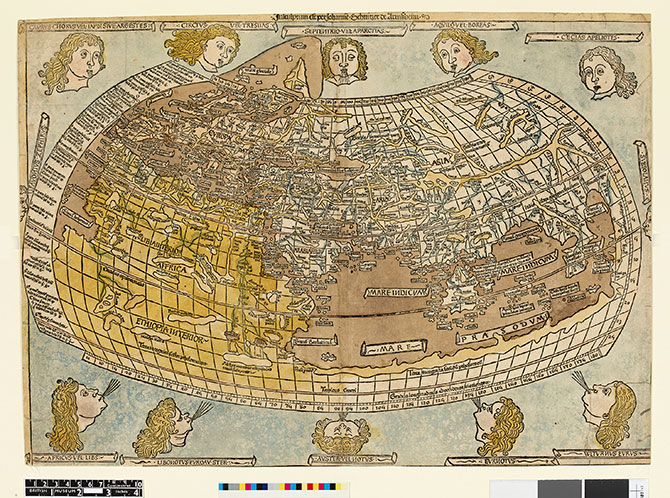 Johannes Schnitzer, Map of the World; with heads representing winds along upper and lower edges (1482-86), illustration to Ptolemy's, 'Cosmographia', Leonhard Holl, Ulm (1482), hand-coloured woodcut on paper, 40.1 x 55.6 cm.