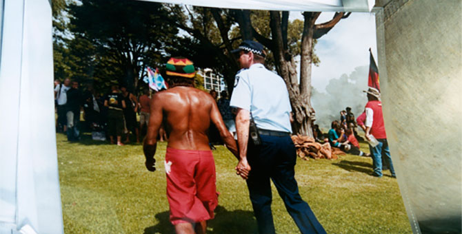 Lisa Bellear, Black GST Protest, Camp Sovereignty 2006, colour photograph, Lisa Bellear Collection Koorie Heritage Trust (detail). Close to You: The Lisa Bellear Picture Show, the Koorie Heritage Trust, Level 1 Gallery, Yarra Building, Federation Square, Melbourne (VIC), 21 May – 17 June 2016