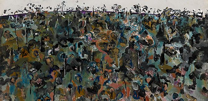 Fred Williams (Australia 1927–82, lived in England 1951–56), Horseman in the landscape 1967, gouache, 57.0 x 76.8 cm. Purchased through The Art Foundation of Victoria with the assistance of the H. J. Heinz II Charitable and Family Trust, Governor, and the Utah Foundation, Fellow, 1980 (AC4-1980)© Estate of Fred Williams.