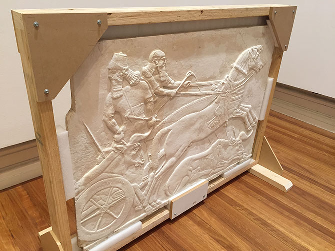 Studio of Domenico BRUCCIANI, Cast of stone panel from North West Palace of Ashurasirpal II, c.1860, plaster, 90x131x4.5 cms. Quiddity, RMIT Gallery, Swanston Street Melbourne (VIC), until 20 August 2016