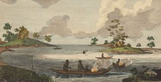 Australians fishing in Port Jackson. Subsistence strategies quickly came to dominate the way Aboriginal Australian people were described. (Dixson Library, State Library of New South Wales, DL PXX 84)